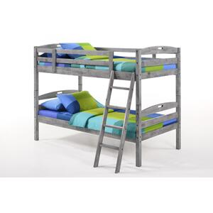 Night and Day Furniture - Sesame Twin Twin Bunk in Rustic Gray Finish