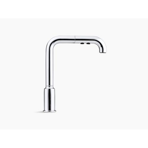 "Vibrant Polished Nickel Single-hole Kitchen Sink Faucet With 8"" Pull-out Spout"