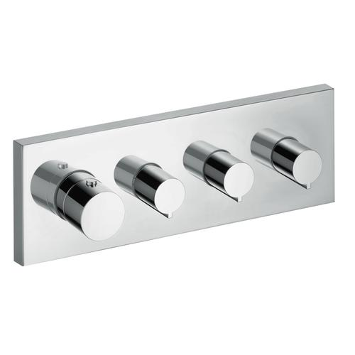 Chrome Thermostatic module 360/120 for concealed installation square for 3 functions