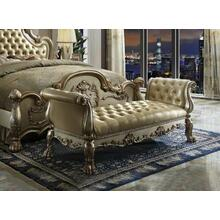 ACME Dresden Bench - 96488 - Bone PU & Gold Patina