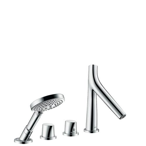 Polished Red Gold 4-hole tile mounted thermostatic bath mixer