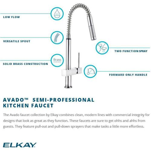 Elkay - Elkay Avado Single Hole Kitchen Faucet with Semi-professional Spout and Lever Handle Chrome