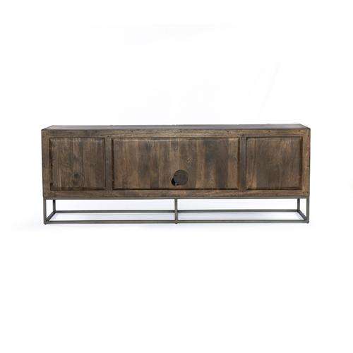 Kelby Media Console-carved Vintage Brown