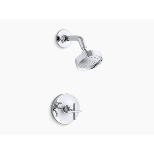 Kohler - Vibrant Brushed Moderne Brass Rite-temp Shower Trim With Cross Handle and 2.5 Gpm Showerhead