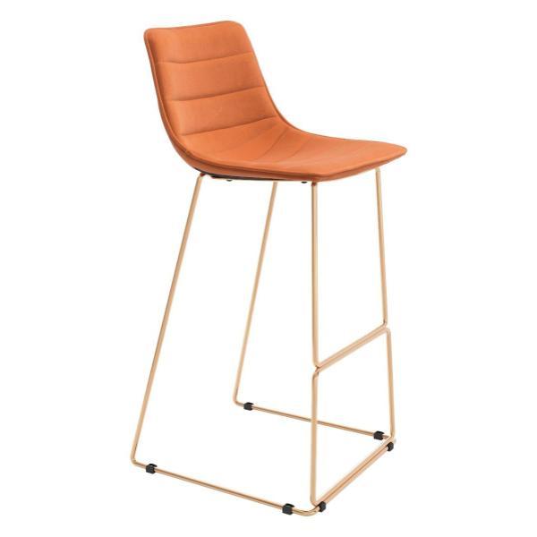 See Details - Adele Bar Chair Orange & Gold