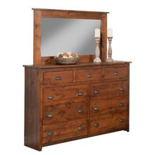 A-R453 Solid Rustic 9 Drawer Dresser & A-R454 Mirror