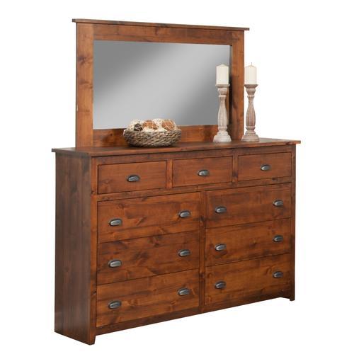 A-R453 Solid Rustic 9 Drawer Dresser & A-R454 Mirror