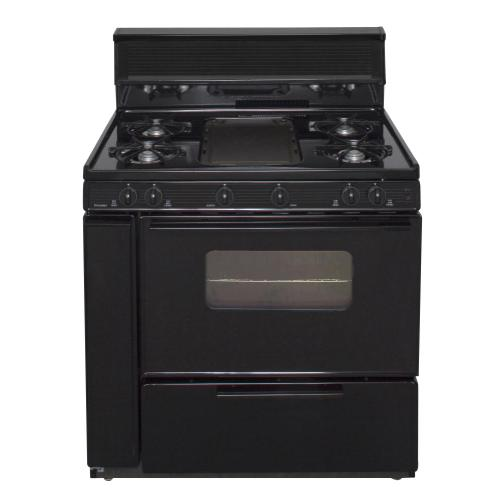 View Product - 36 in. Freestanding Battery-Generated Spark Ignition Gas Range in Black