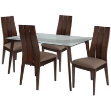 5 Piece Espresso Wood Dining Table Set with Glass Top and Wide Slat Back Wood Dining Chairs - Padded Seats