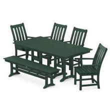 View Product - Vineyard 6-Piece Farmhouse Trestle Side Chair Dining Set with Bench in Green
