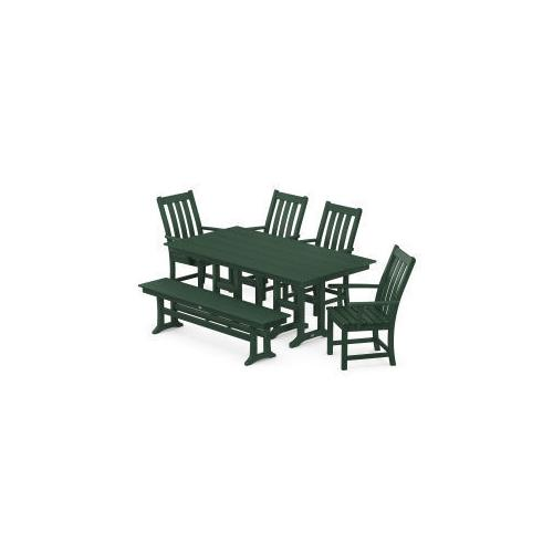 Polywood Furnishings - Vineyard 6-Piece Farmhouse Trestle Side Chair Dining Set with Bench in Green