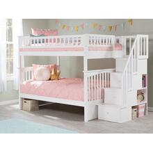 View Product - Columbia Staircase Bunk Bed Full over Full in White