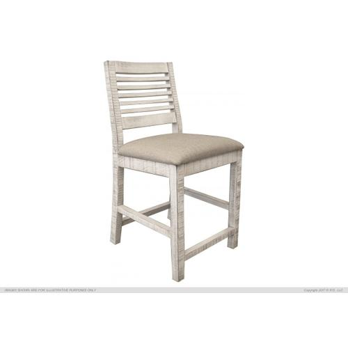 "24"" Barstool w/Ivory Finish & Fabric Seat"
