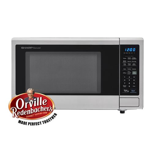 Sharp - 1.4 cu. ft. 1000W Sharp Stainless Steel Carousel Countertop Microwave Oven