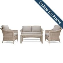 Laurel 4pc Loveseat Seating w/ Natural Tan Cushion