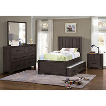 Kids Trundle Bed Unit in Espresso Brown