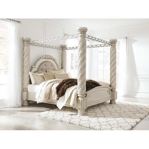 Ashley Furniture - Cassimore - Pearl Silver Complete Bed-frame only (Cal King)