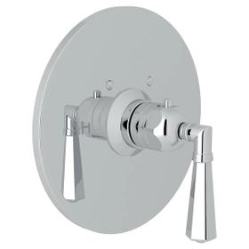 San Giovanni Thermostatic Trim Plate without Volume Control - Polished Chrome with Metal Lever Handle