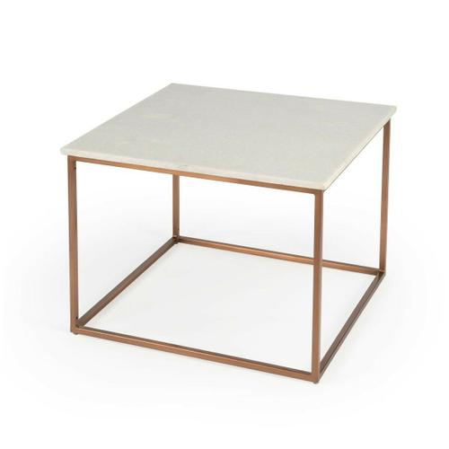 Serve drinks on this quaint cocktail table. Perfect for the living room or den, this table's white marble tabletop rests on four bronze-colored Iron legs. This modern piece's fairly simple design gives it a very sleek minimalist look.