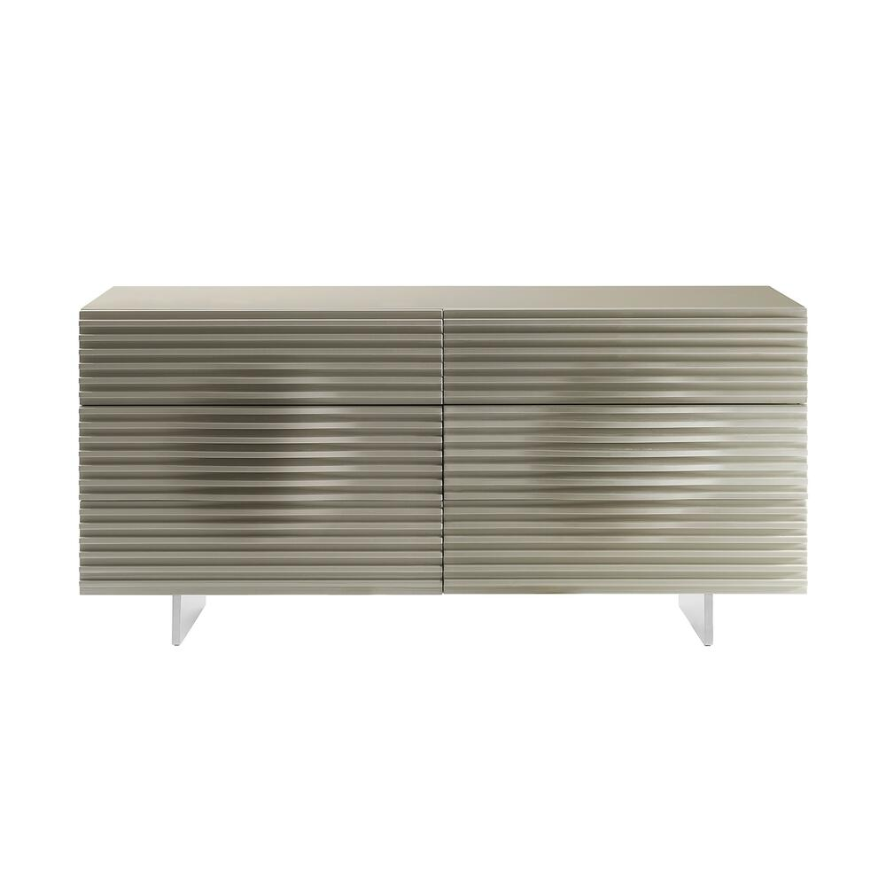The Moon Dresser In High Gloss Taupe Lacquer With Brushed Stainless Steel Feet