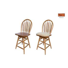 """Barstool: 853-24"""" or 30"""" Solid Oak Straight Leg Swivel Barstool with Arrow Back & Wood Seat. 18""""W x 16""""D x 44"""" or 50""""H"""