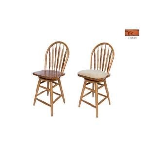 """All Wood Furniture - Barstool: 853-24"""" or 30"""" Solid Oak Straight Leg Swivel Barstool with Arrow Back & Wood Seat. 18""""W x 16""""D x 44"""" or 50""""H"""