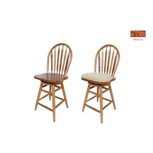 """Gallery - Barstool: 853-24"""" or 30"""" Solid Oak Straight Leg Swivel Barstool with Arrow Back & Wood Seat. 18""""W x 16""""D x 44"""" or 50""""H"""