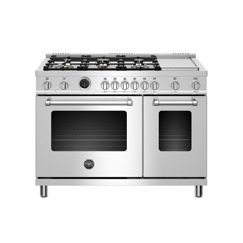 Bertazzoni - 48 inch Dual Fuel Range, 6 brass burners and Griddle, Electric Self-Clean Oven Stainless Steel