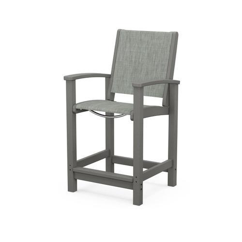 Polywood Furnishings - Coastal Counter Chair in Slate Grey / Birch Sling
