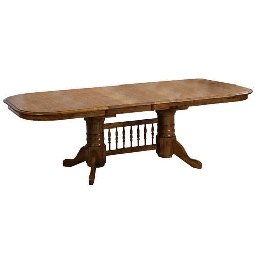 See Details - Classic Oak Burnished Trestle Table