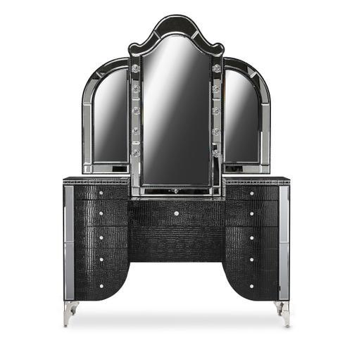 Vanity Desk Mirror & Bench 3pc