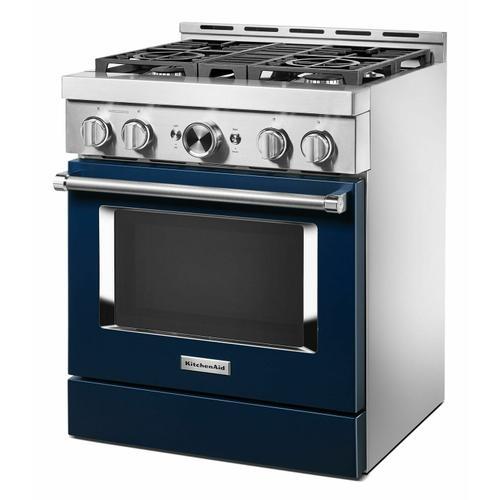 KitchenAid - KitchenAid® 30'' Smart Commercial-Style Gas Range with 4 Burners - Ink Blue