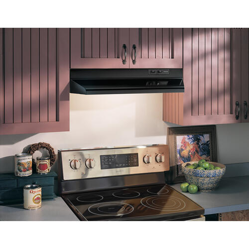 Broan® 30-Inch Ducted Under-Cabinet Range Hood w/ Easy Install System, 160 CFM, Black