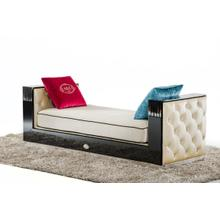 See Details - A&X Bellagio Transitional Black Crocodile and Beige Fabric Chaise