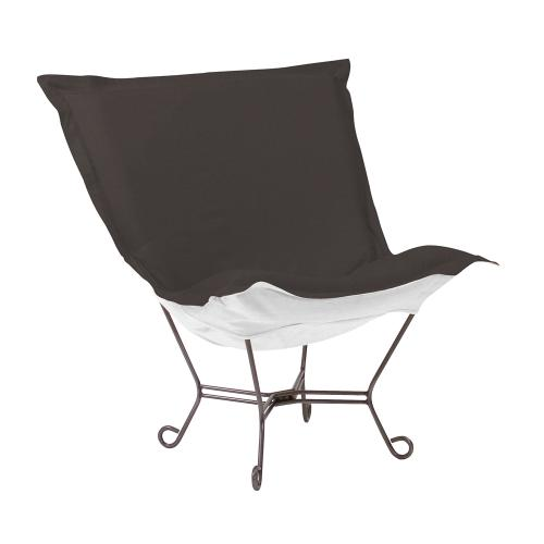 Scroll Puff Chair Seascape Charcoal Titanium Frame