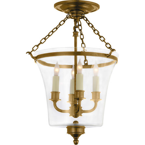 - E. F. Chapman Sussex 4 Light 12 inch Antique-Burnished Brass Semi-Flush Ceiling Light
