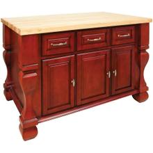 "52-5/8"" x 32-3/8"" x 35-1/4"" Furniture style kitchen island with Red finish."