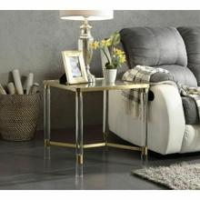 ACME Penstemon End Table - 80097 - Clear Acrylic - Gold Stainless Steel & Clear Glass