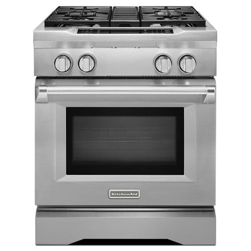 30'' 4-Burner Dual Fuel Freestanding Range, Commercial-Style Stainless Steel