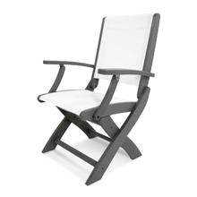 Slate Grey & White Coastal Folding Chair