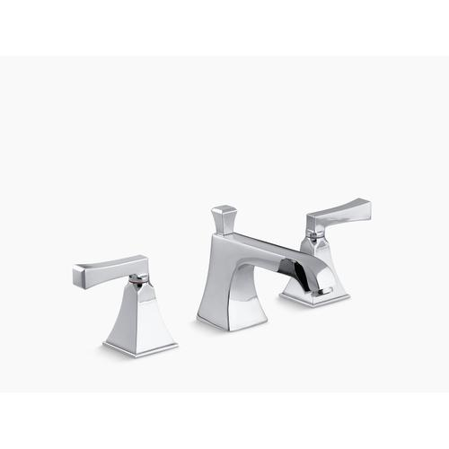 Polished Chrome Widespread Sink Faucet With Red and Blue Indexing and Deco Lever Handles
