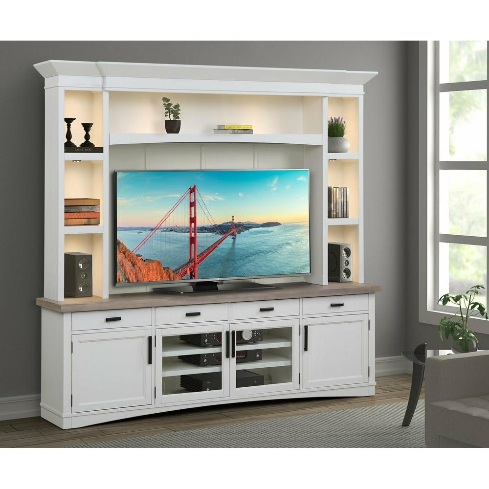 See Details - AMERICANA MODERN - COTTON 92 in. TV Console with Hutch, Backpanel and LED Lights