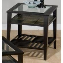 End Table W/ 5mm Tempered Glass and Slate Shelf