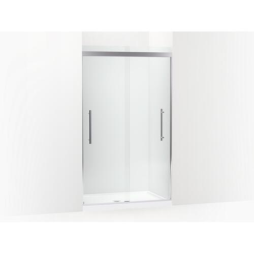 "Anodized Brushed Nickel Frameless Sliding Shower Door, 79-1/16"" H X 44-5/8 - 47-5/8"" W, With 5/16"" Thick Crystal Clear Glass"