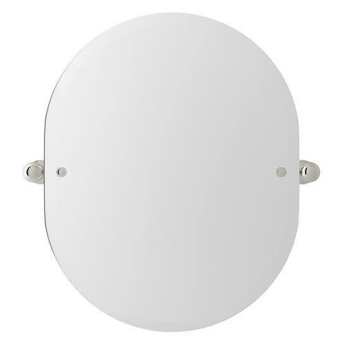 "Polished Nickel Perrin & Rowe Wall Mount 24 7/16"" Oval Mirror"