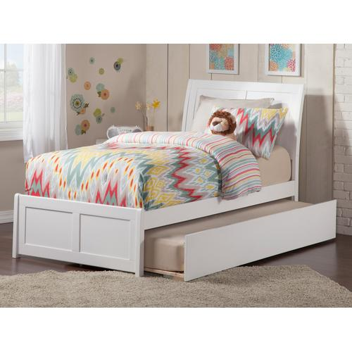 Portland Twin Bed with Matching Foot Board with Urban Trundle Bed in White