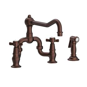 Oil Rubbed Bronze - Hand Relieved Kitchen Bridge Faucet with Side Spray