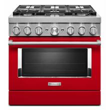 See Details - KitchenAid® 36'' Smart Commercial-Style Dual Fuel Range with 6 Burners - Passion Red