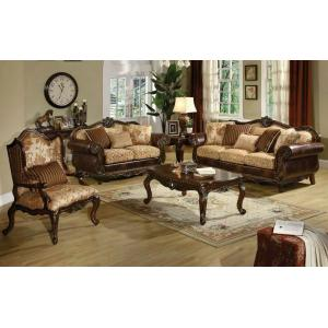 ACME Remington Sofa w/5 Pillows - 50155 - Bonded Leather/Fabric & Cherry
