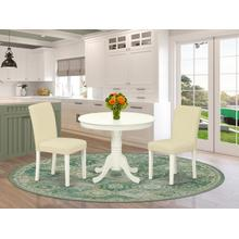 3Pc Rounded 36 Inch Dinette Table And Two Parson Chair With Linen White Leg And Pu Leather Color White